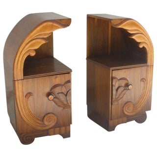 Deco Period Teak Lotus Design Side Tables - a Pair For Sale