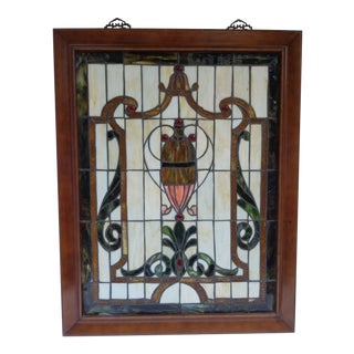 Vintage Tiffany Style Stained Glass Window For Sale