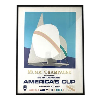 1983 Mumm Champagne America's Cup 25th Defense Yacht Sailing Race Poster For Sale