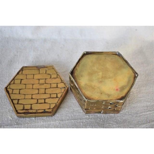 Mid-Century Modern 1970s Hexagon Brass Basketweave Box For Sale - Image 3 of 6