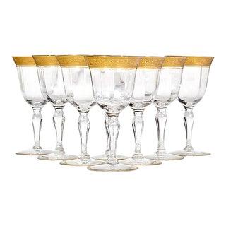 Art Deco Floral Gold Rim Wine Stems, Set of 8