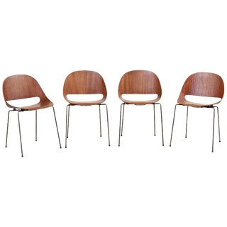 Set of Four Sl58 Plywood Chairs in Teak by Léon Stynen for Sope, Finland, 1960s For Sale