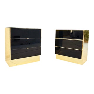 1970s Art Deco Brass & Smoke Mirror Nightstands - a Pair For Sale