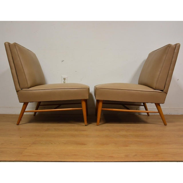 Mid-Century Modern Beige Slipper Lounge Chairs - A Pair For Sale - Image 5 of 9