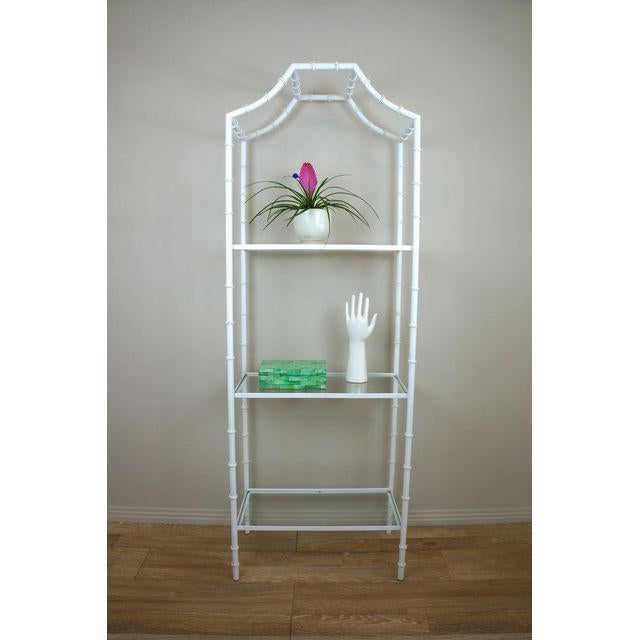 Fabulous 60s - 70s etagere / shelf. White metal frame with faux bamboo design. 3 glass shelves. Great with Hollywood...