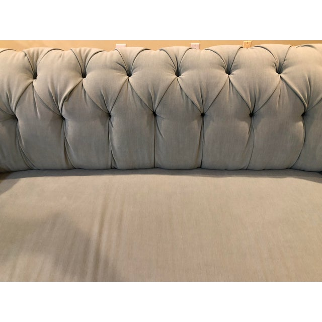 Anthropologie Anthropologie Blue Chesterfield Sofa For Sale - Image 4 of 11