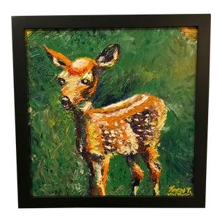 Deer Doe Original Framed Oil Painting For Sale