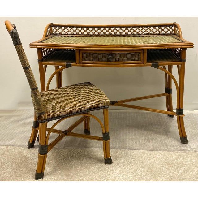 Grange Vintage French Rattan and Wicker Desk & Chair by Grange For Sale - Image 4 of 5