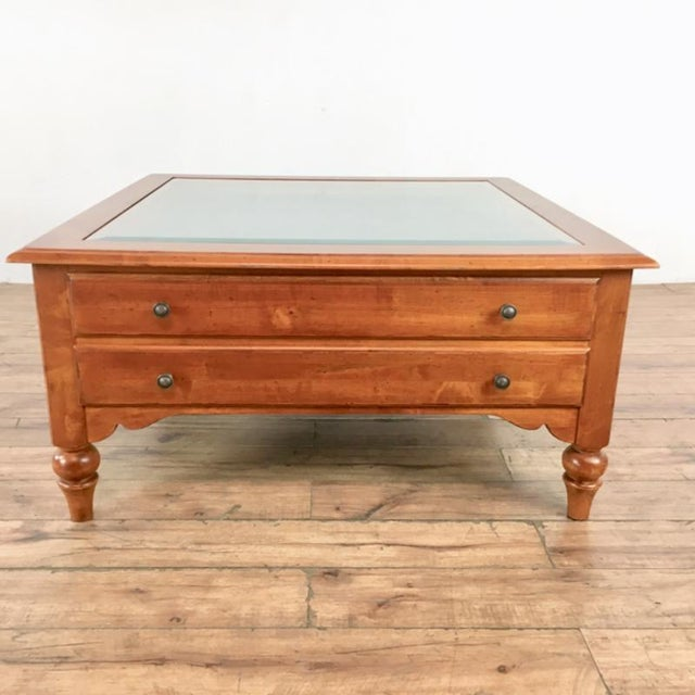 Transitional Ethan Allen Curio Top Coffee Table