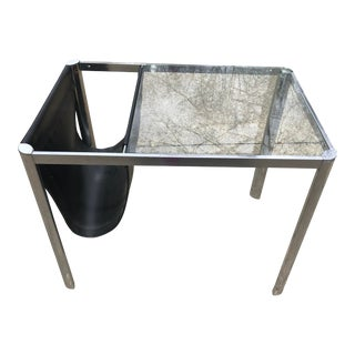 Mid-Century Chrome Coffee Table with Magazine Rack For Sale
