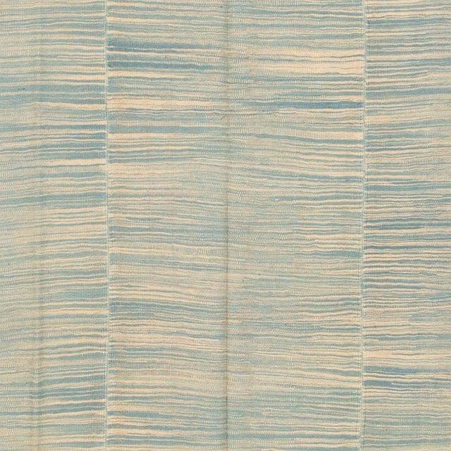 "Apadana - Contemporary Teal/Cream Turkish Kilim Rug, 6'8""x10'11"" For Sale - Image 4 of 5"