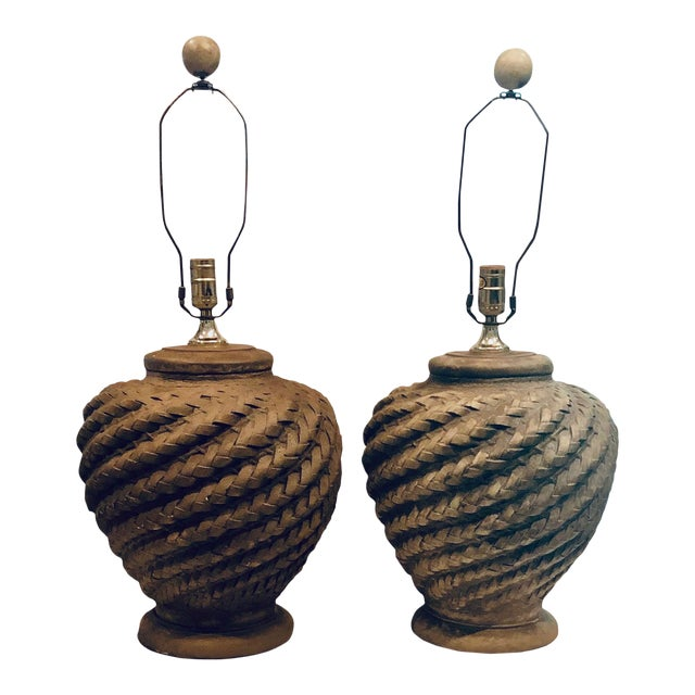 Mid 20th Century Rattan Lamps - a Pair For Sale