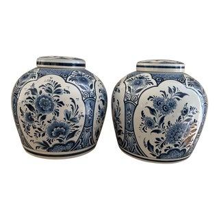 Blue and White Delft Porcelain Lidded Ginger Jars- a Pair For Sale