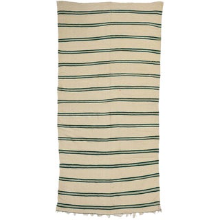 Striped Kilim Area Rug, Vintage Moroccan Kilim Rug With Hunter Green Stripes, 5'4 X 11'2 For Sale