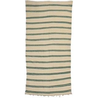 Striped Kilim Area Rug, Vintage Moroccan Kilim Rug With Hunter Green Stripes, 5'4 X 11'2 For Sale