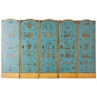 19th Century French Chinoiserie Decoupage Six Panel Screen For Sale