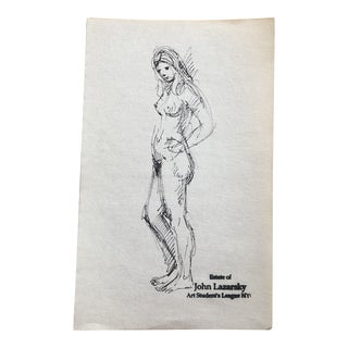 Vintage Original Female Nude Ink Drawing John Lazarsky Art Students League Nyc For Sale