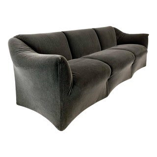 1970s Vintage Mario Bellini Charcoal Mohair Cassina Tentazione Sofa For Sale