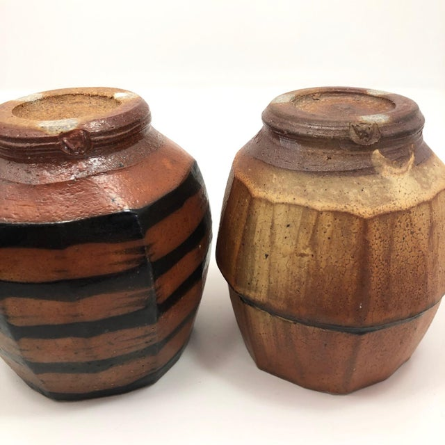 Japanese Style Faceted Yunomi Studio Pottery Cups, Marked - a Pair For Sale - Image 10 of 13