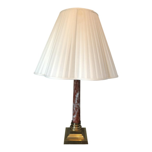 Vintage Red Marble Brass Column Table Lamp - Image 1 of 6