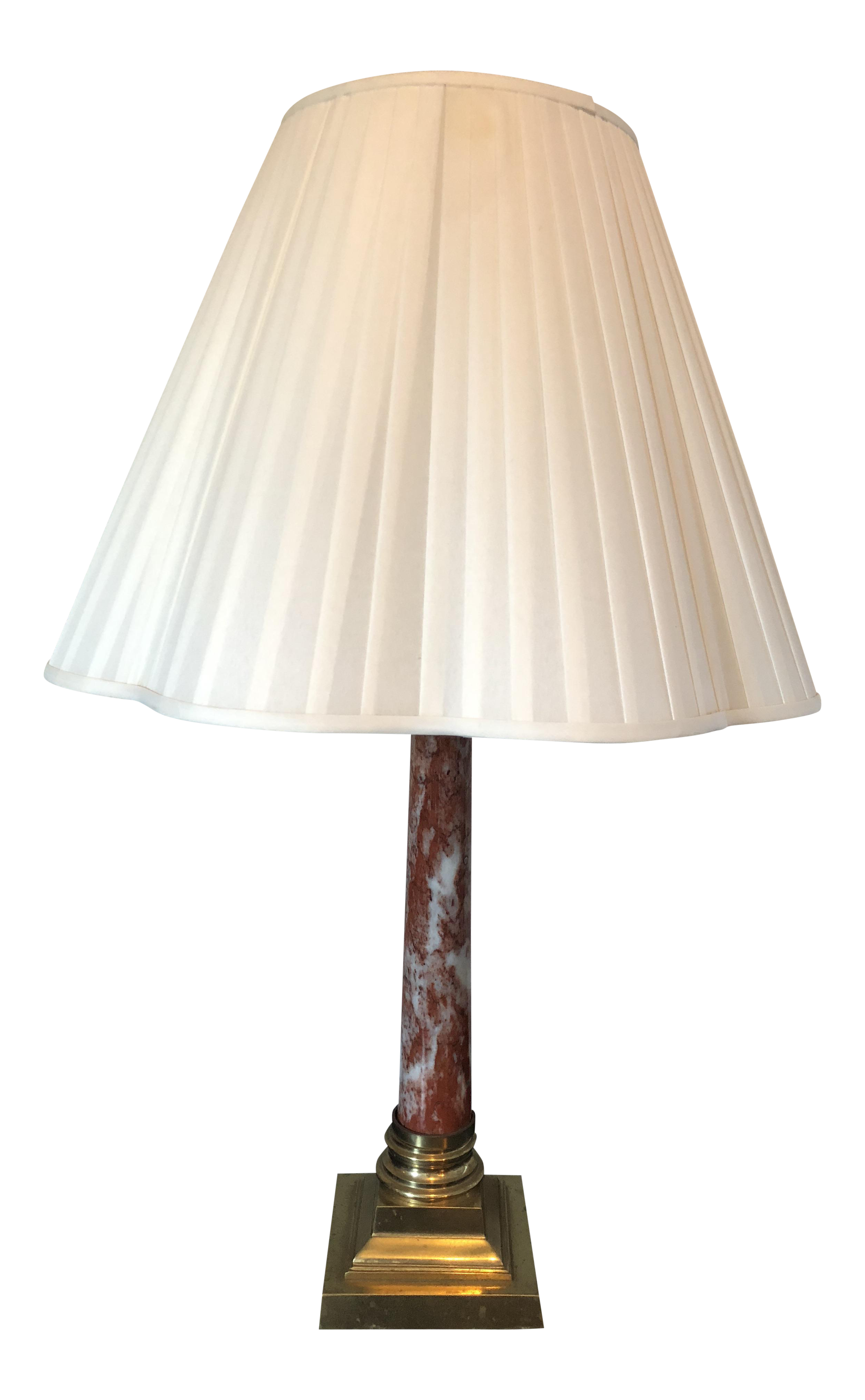 Vintage Red Marble Brass Roman Column Table Lamp