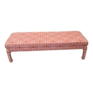 Ming Style Bench in Scalamandre Fabric For Sale