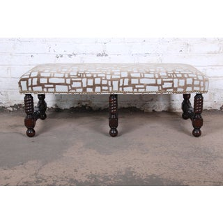 Contemporary Transitional Jacobean Revival Walnut Upholstered Bench Preview