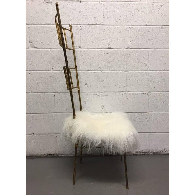 1950s Tall Gold Gilt Gio Ponti Style Chairs with Long Haired Sheep Fur For Sale - Image 5 of 6