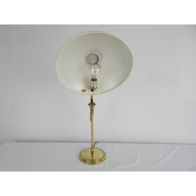 Brass Mid-Century Saucer Desk Lamp on Brass Base For Sale - Image 8 of 9