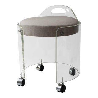 Charles Hollis Jones Round Lucite Vanity Stool on Casters For Sale