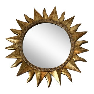 Italian Hollywood Regency Gilt Wood Sunburst Mirror For Sale