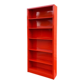 Classic Tall Steel Tanker Bookcase, Custom Refinished in Safety Orange For Sale