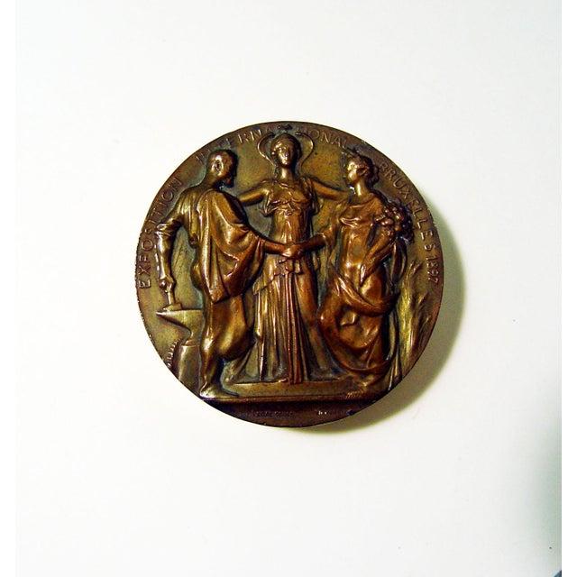 Exposition Internationale Bruxelles 1897 bronze medal designed by Jules Lagae (1862-1931), Belgium in the Art Nouveau...