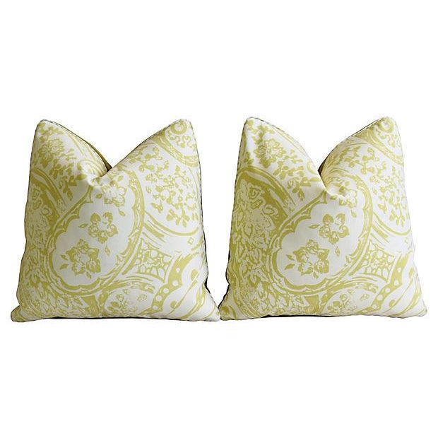 "Early 21st Century Designer Lee Jofa Paisley & Mohair Feather/Down Pillows 21"" Square - Pair For Sale - Image 5 of 14"