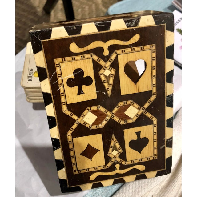 19th Century Art Nouveau Playing Cards and Marquetry Box For Sale In New York - Image 6 of 8