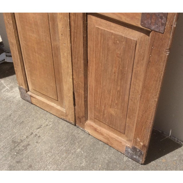 Brown Pair of Heavy Rustic Antique Wood Shutters For Sale - Image 8 of 9