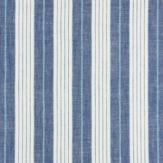 Schumacher X Vogue Living Horst Stripe Fabric in Delft For Sale