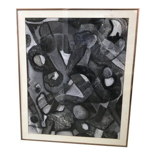 Vintage Mid-Century Black & White Abstract Framed Painting For Sale