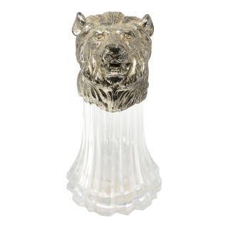 Vintage Silver Plated Lion Head Fluted Jar - Made in Japan For Sale