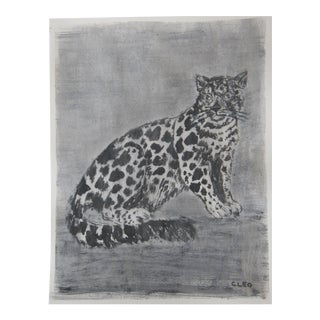 Gray Snow Leopard Painting by Cleo Plowden For Sale