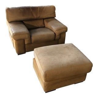 Roche Bobois Thick Leather (Nubuck) Chair and Ottoman