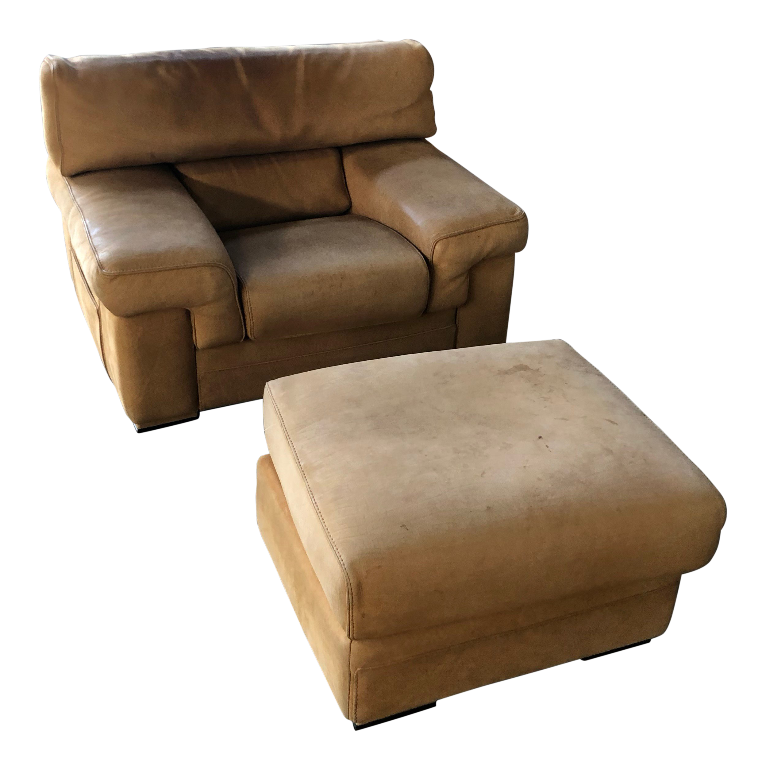 Roche Bobois Thick Leather (Nubuck) Chair And Ottoman For Sale