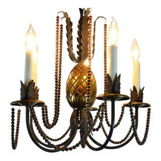Early 20th Century Brass Pineapple Five Arm Chandelier For Sale