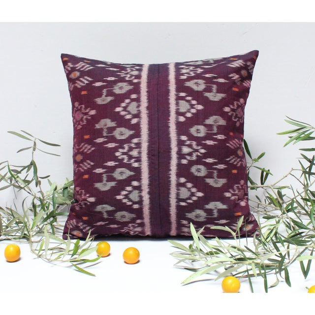 Karma Purple Balinese Handwoven Ikat Pillow - Image 3 of 5