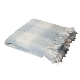 Blue White & Bone Check Mohair Throw For Sale
