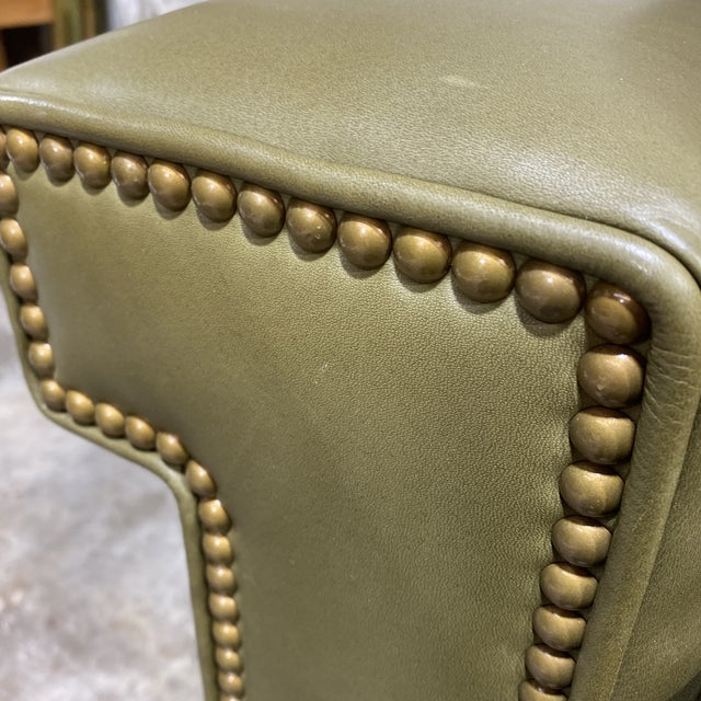 Swaim Olive Leather Club Chairs - a Pair For Sale - Image 9 of 13