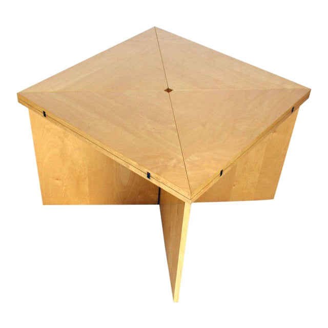 Birch Mid-Century Modern Folding Convertible Two Sizes Birch Square Conference Dining Table X-Base For Sale - Image 7 of 7
