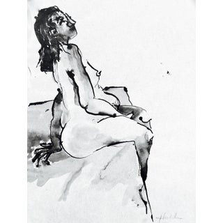 Model Awaiting Baby Ink Drawing For Sale