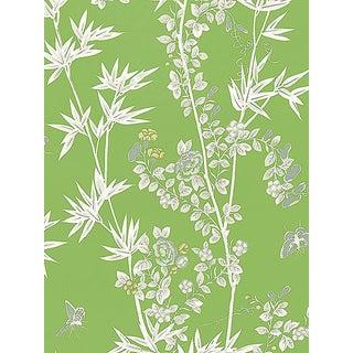 Sample, Scalamandre Jardin De Chine, Jade Fabric For Sale