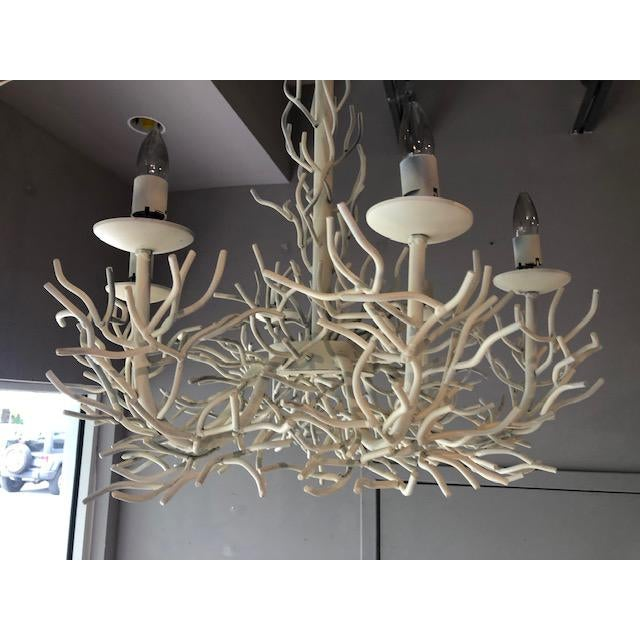 Boho Chic Sculptural Vintage Faux Coral Iron Chandelier For Sale - Image 3 of 8
